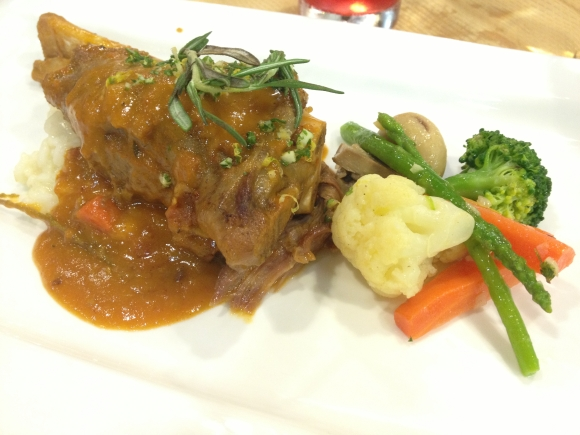 Lamb shank on risotto.