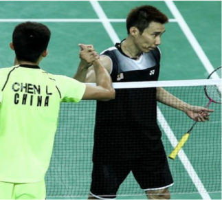 Dato' Lee Chong Wei shaking hands with China's Chen Long after their match in the team event. Malaysia went on to lose 3-0 to China.