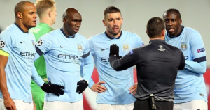 Man. City players arguing with the referee after a penalty was awarded against them (Source: bbc.co.uk)