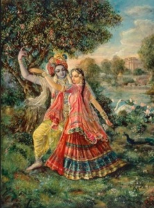 Lord Krishna and his wife Satyabhama
