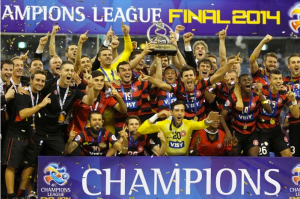 Western Sydney Wanderers in jubilation after winning the AFC Champions League. (Source: abc.net.au)