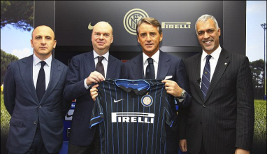 Mancini (2nd from right) unveiled as the new manager of Inter Milan. (Source: dailymail.co.uk)
