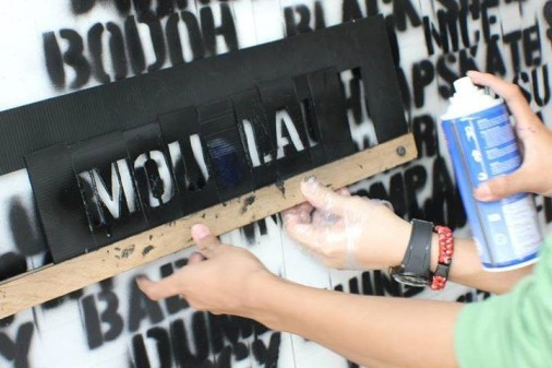 Figure 1: Students spray painting their most dreaded insults