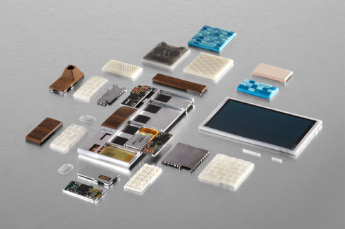 "[Image Credit: TIME magazine. Components of a working Project Ara prototype – consisting of the ""endo"" or endoskeleton frame (the base), screen and other electronic parts and 3D printed components.]"