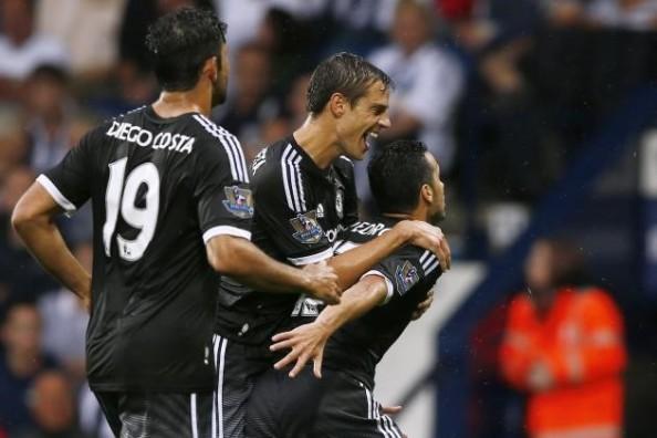 Pedro (Right) celebrating his goal against West Brom (Source: bleacherreport.com)