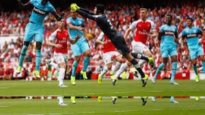 West Ham's Cheikhou Kouyate (Left) heads the ball past Arsenal's Petr Cech (Fourth from right) (Source: skysports.com)