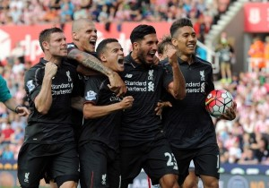 Liverpool's Phillppe Coutinho (third from left) celebrates his goal with his teammates (Source: www.liverpoolecho.co.uk)